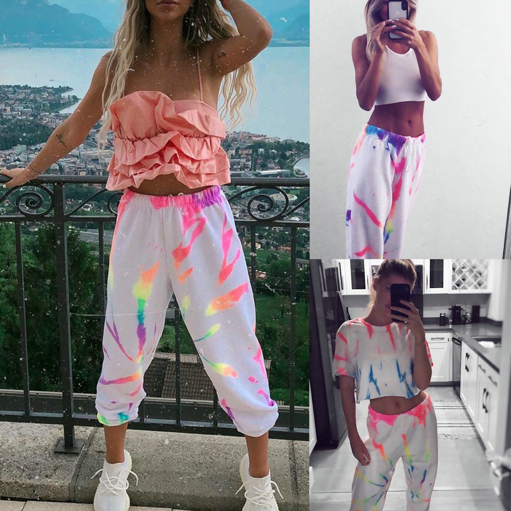 Meihuida Women Fashion Joggers Casual Chic Rainbow Tie Dye High Waist Pants Exercise Hip Hop Cool Street Wear