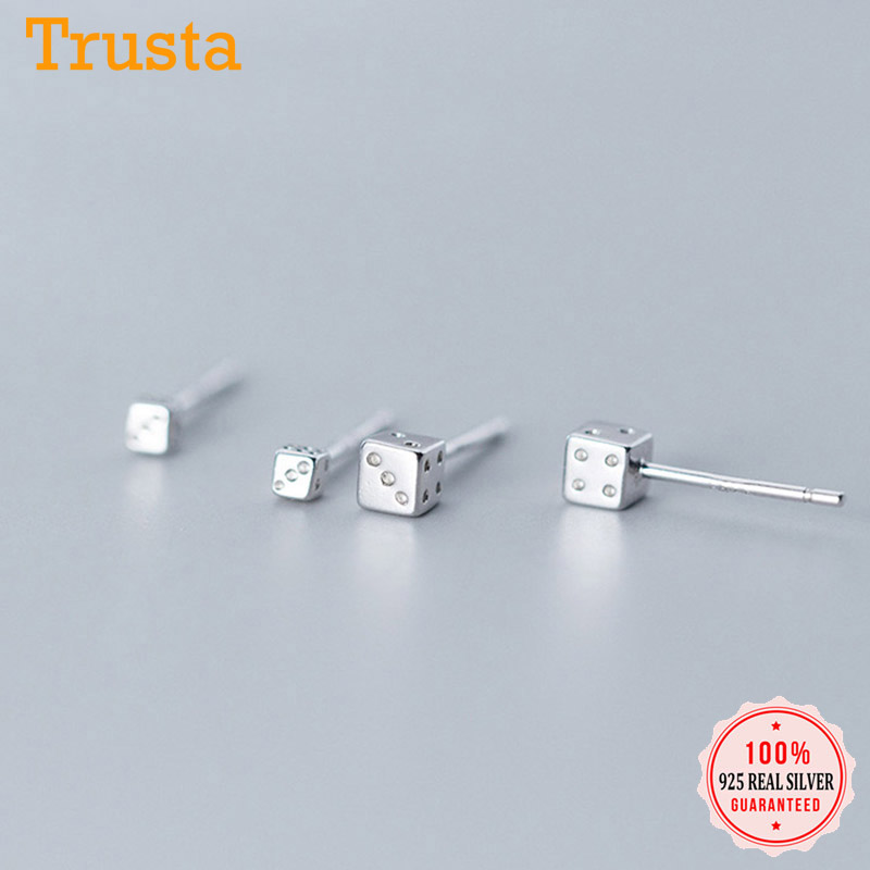 Trusta Fashion Genuine 925 Sterling Silver Sweet Lovely Dice Earring Stud Earrings For Women Girls Wedding Jewelry Gift DS2323
