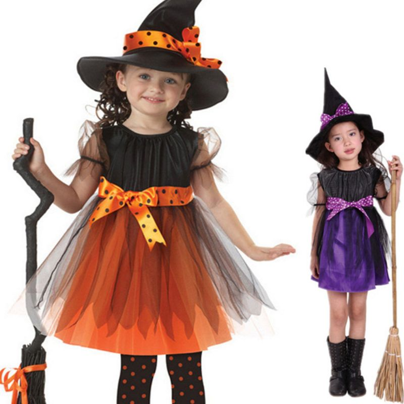 EDCRFV Children Girl Witch Cosplay Costume Kids Short Sleeve Dress With Polka Dot Ribbon Pointed Hat Halloween Fairytale Party