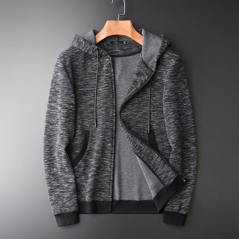 Толстовка мужская осень новая Пряжа окрашенная молния толстовки высокое качество мода Slim Fit серый с капюшоном толстовки для мужчин