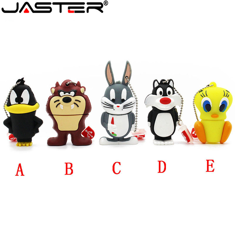 JASTER Animal Daffy Duck Bugs Bunny Crow Lion Cat Pendrive 4GB 16GB 32GB 64GB USB Flash Drive U Disk Cartoon Memory Stick Gift