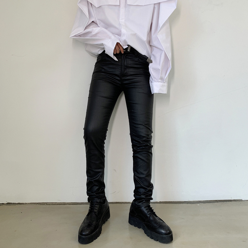 South Korea INS Slim Fit Shiny Pants Men's Skinny Pants Matte Casual Pants Tapered Pants Hair Stylist DJ Nightclub Network Red T