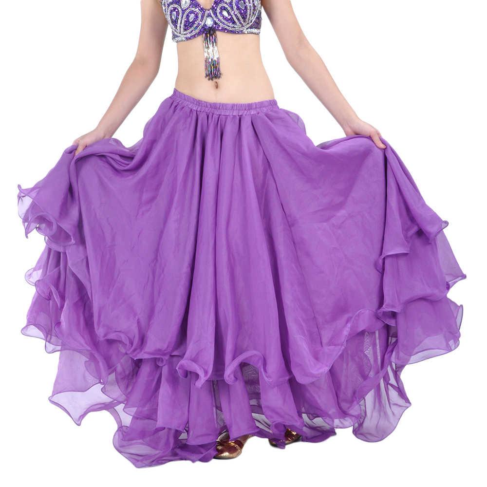 Hohe Qualität Frauen Sexy Bauchtanz Kostüm Röcke 3 Reihen Bauchtanz Rock Chiffon für Verkauf 12 Farben Erhältlich