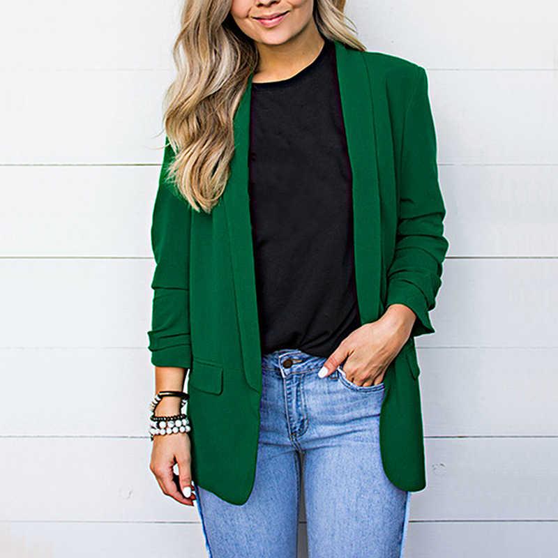 LITTHING 秋シフォンブレザー女性のスーツのジャケットのファッション長袖ルーズカジュアル固体コート女性の基本的なジャケット