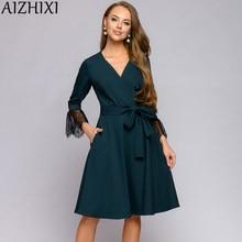 AIZHIXI kadın dantel ekleme V boyun sonbahar elbise zarif Sashes cepler bilek kollu yeşil siyah Mini elbiseler bayan ofis giyim