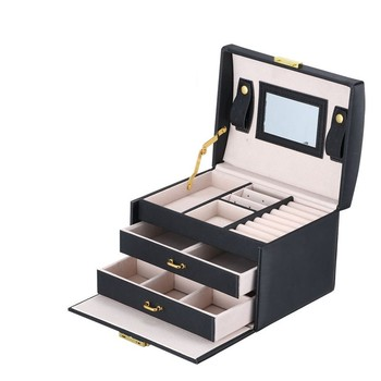 Jewelry Box Mirrored 3 layer Large Capacity Jewelry Casket Makeup Organizer Earring Holder Makeup Storage