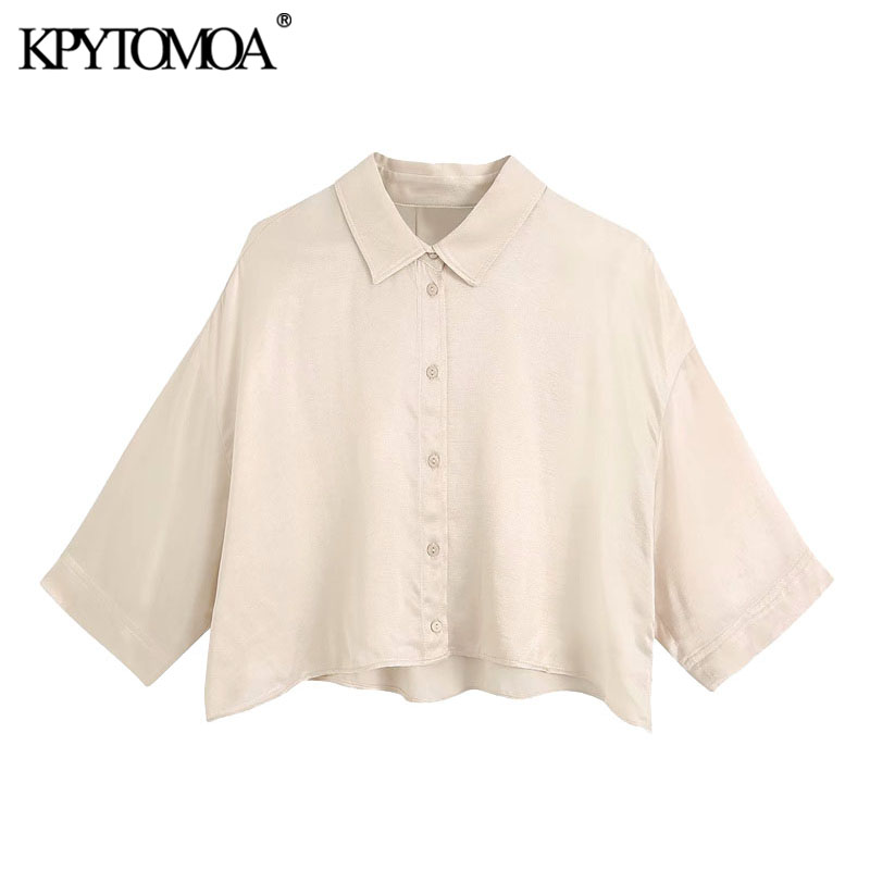 KPYTOMOA Women 2020 Fashion Button-up Loose Cropped Blouses Vintage Short Sleeve Cozy Female Shirts Blusas Chic Tops
