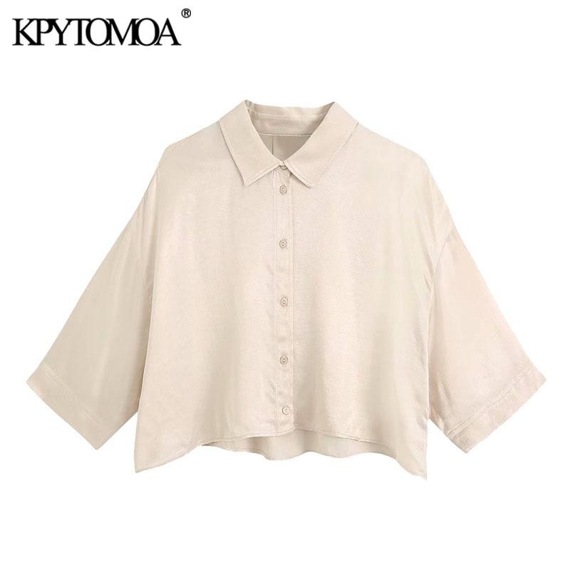 KPYTOMOA Women 2020 Fashion Button-up Loose Cropped Blouses Vintage Short Sleeve Cozy Female Shirts Blusas Chic Tops