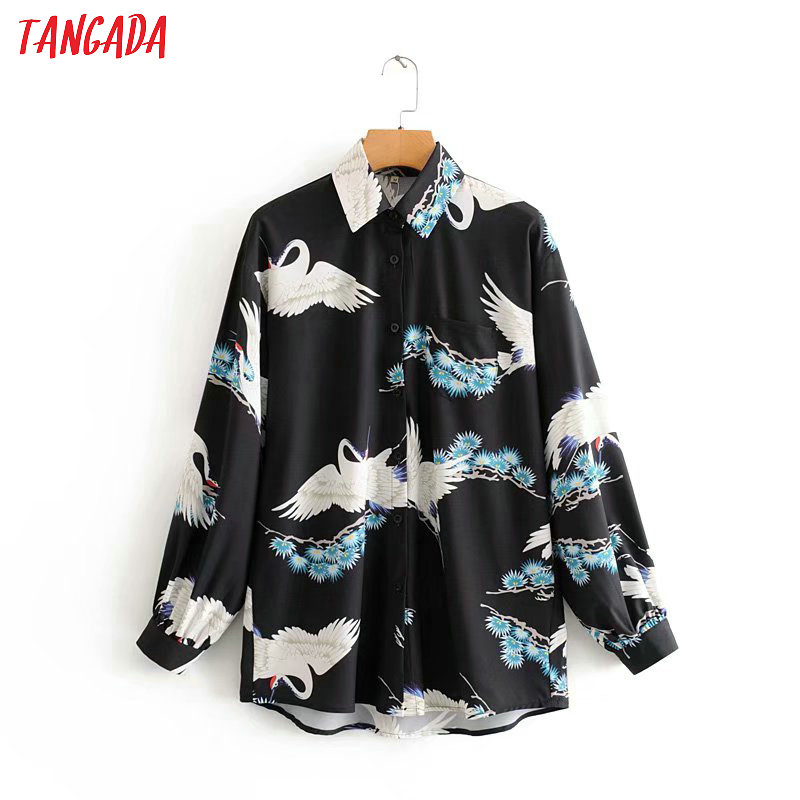 Tangada Women Crown Print Blouse Japanese Style Long Sleeve Chic Female Casual Loose Shirt Blusas Femininas 2J11