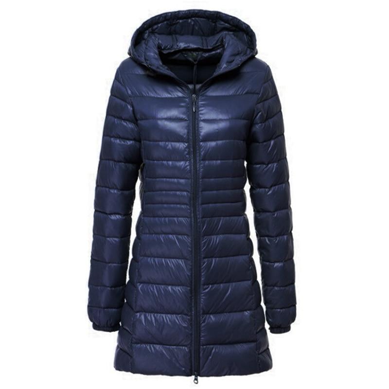 6XL 7XL Down Jacket Women 2019 Winter Ultra Light White Duck Down Jacket Female Hooded Long Coat Windproof Puffer Jackets Parkas