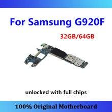 מקורי עבור Samsung Galaxy S6 G920F האם S6 היגיון לוח G920F אנדרואיד מערכת עם שבב Mainboard 32gb/64gb