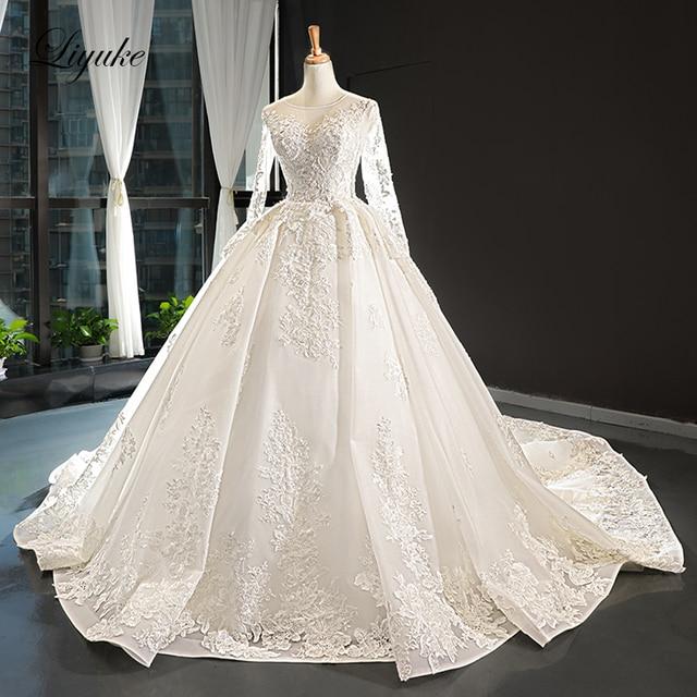 Liyuke Scooped Neckline Ball Gown Wedding Dress With Elegant Chapel Train Wedding Gown Full Sleeve