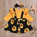Комплект одежды для маленьких девочек, 3 предмета, топы с рюшами и длинным рукавом, комбинезон, юбка с подсолнухом, повязка на голову, комплек...