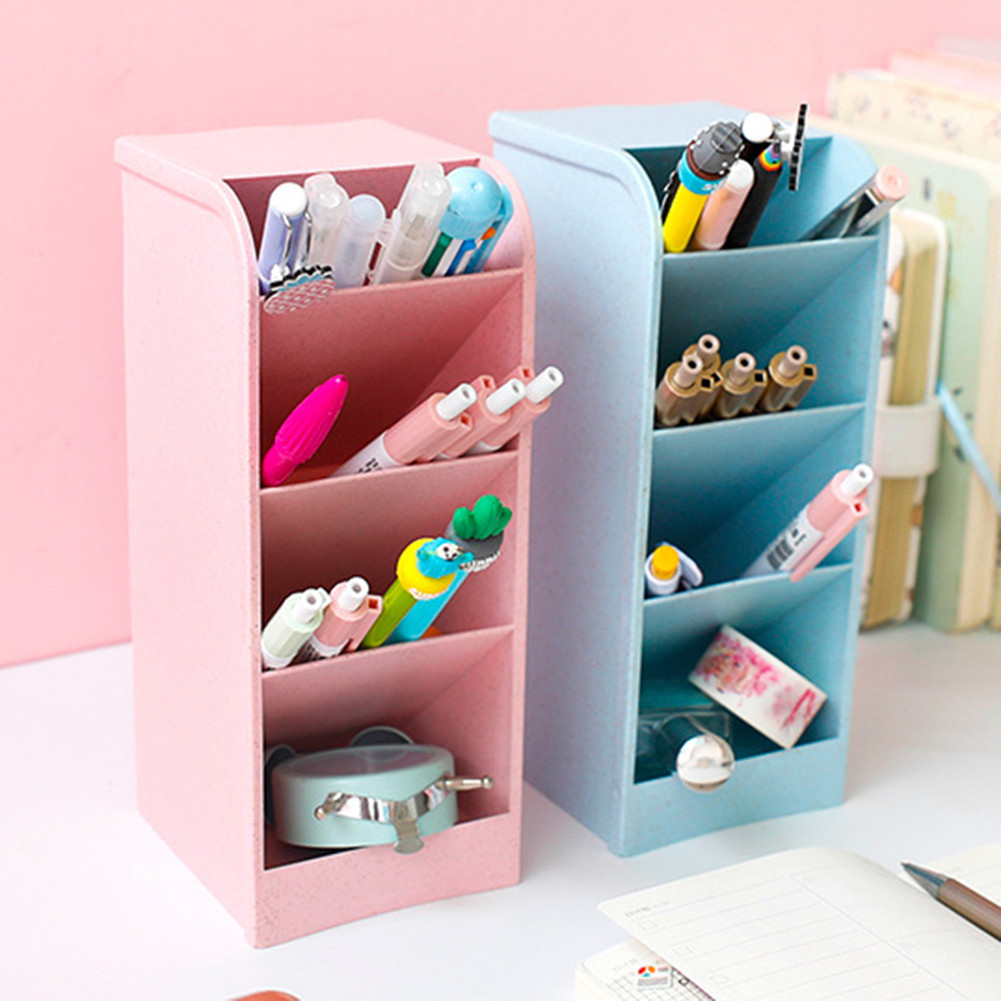 New Multi-function 4 Grids Desktop Storage Box Cosmetic Storage Pen Pencil Case Makeup Organizer Desk Holder