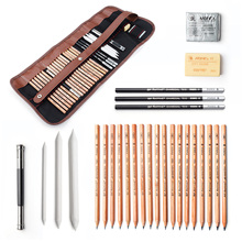 29 piezas Kit de herramientas de Arte de boceto y dibujo profesional con lápices de grafito, lápices de carbón, bolígrafo borrable de papel, cuchilla para manualidades