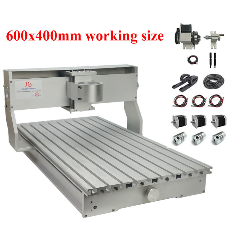 DIY Cnc 6040 Aluminum Frame 80mm Spindle Diameter Nema23 Stepper Motors With Drag Chain Limit Switch 1.5kw VFD 800w Spindlle