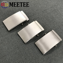 Meetee 1pc 35/38mm Pure Titanium Belt Buckles Anti-allergy Toothless Roller Automatic Buckle Belts Head Clasp DIY Leather Crafts