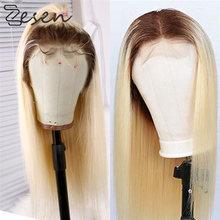 Zesen longa reta parte do meio ombre loira marrom 13x4 perucas sintéticas da parte dianteira do laço para o uso diário feminino peruca com cabelo do bebê