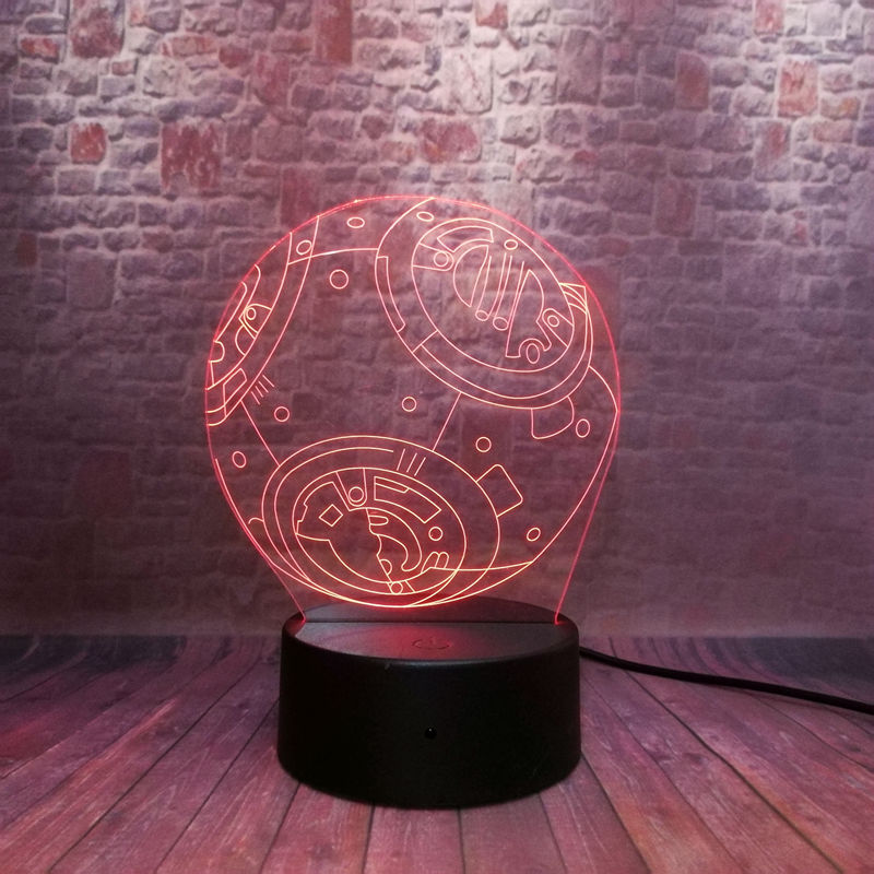 Cool 3D Illusion LED Nightlight 7 Colors Changing Light Star Wars BB-8 Droid Robot action & toy figures 2