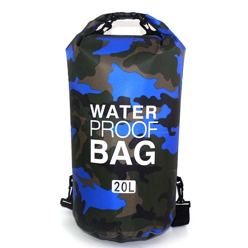 Outdoor Camouflage Waterproof Bag Portable Rafting Diving Dry Bag Sack PVC Folding Swimming Storage Bag for River Trekking 20L