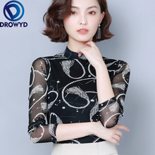 Autumn Stand Collar Printing T-shirt Womens Harajuku Fashion Thickening Long-sleeved Sexy Street Simple Stretch Shirt