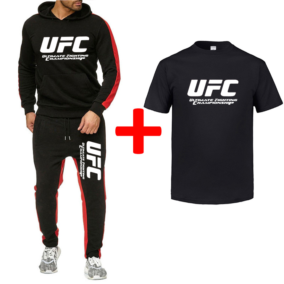 New Brand Tracksuit Fashion UFC Men Sportswear Three Piece Sets All Cotton Ultimate Fighting Championship Sportswear Piece Sets