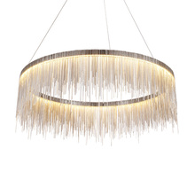 Modern Silver Chain Pendant Lights Golden Round Tassels LED Pendant Lamp Aluminum Metal Body For Living Room Hotel