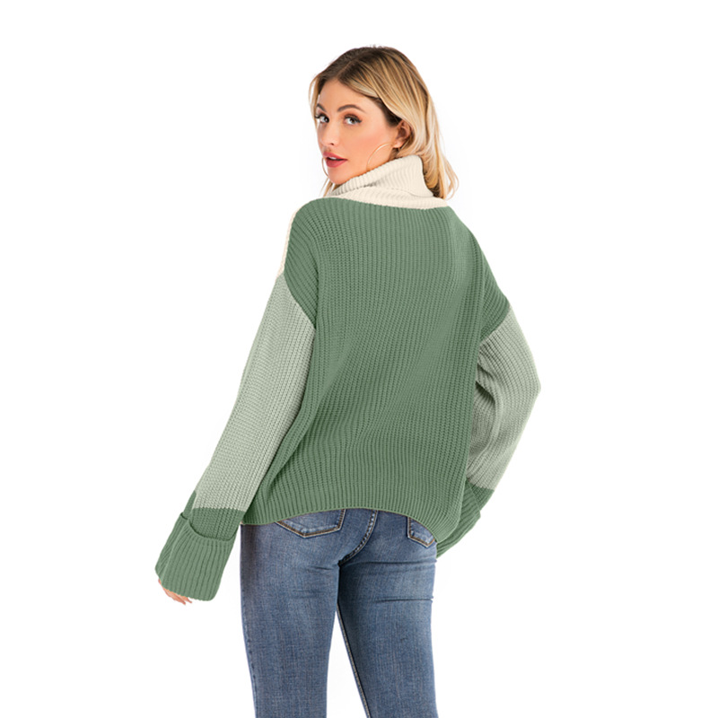 Turtleneck Sweater Woman Casual Winter Knitting Pullovers Long Sleeve Color Block Knitted Solid Jumper Women