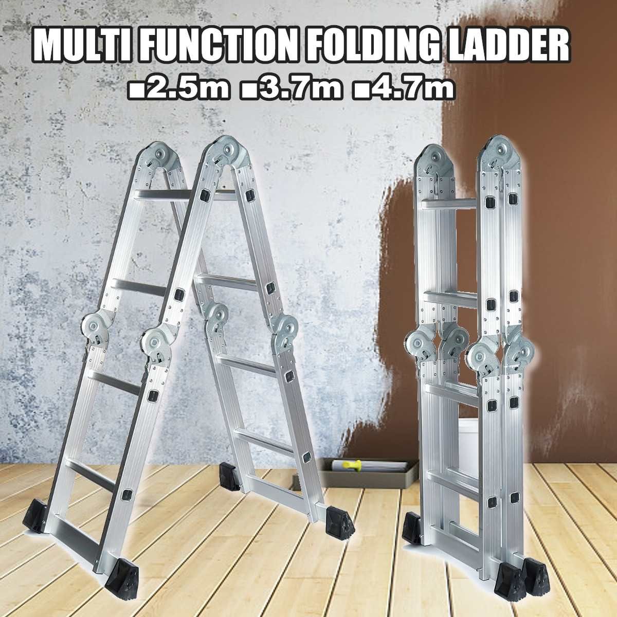 Telescopic Folding Ladder Step-Stand House Aluminium Ladders Telescoping Multi-Purpose Extension Folding Step Ladder 2.5m