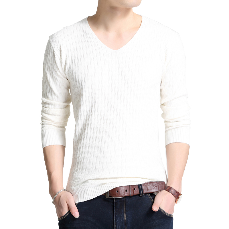BROWON Simple Autumn New Long Sleeve Sweaters For Young Men V-collar Pure Long Sleeve Sweater Thin Knitted Bottom  Blouse