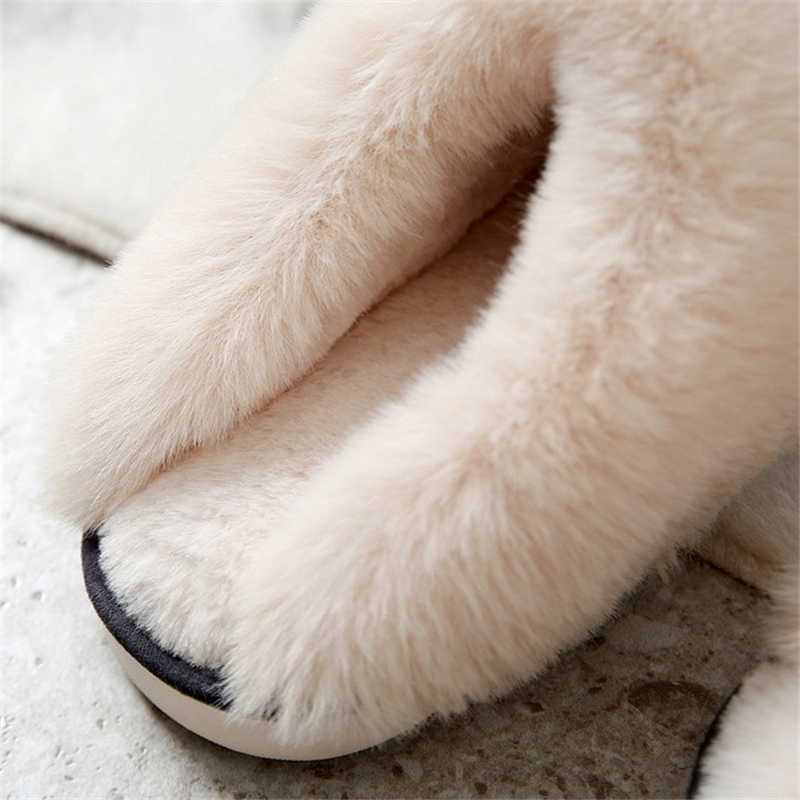 JIANBUDAN Indoor plush comfortable soft slippers Men and women winter warm home shoes Flat suede plush Female Cotton shoes 4