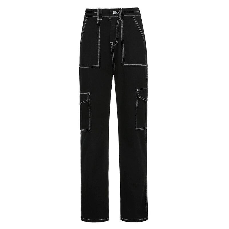 Weekeep Pockets Patchwork Baggy Jeans Fashion Streetwear 100% Cotton Women Denim Trouser Loose Cargo Pants Korean Jeans Harajuku 5