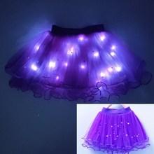 Novel-Skirt Fluffy-Bottom Tulle Chiffon Party Princess with Lamp 3-Layers Beaded Luminous