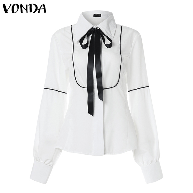 VONDA Ladies Office Shirt 2019 Autumn Blouse Women Sexy Lantern Sleeve Turn-down Collar Shirt Casual Tops Plus Size Blusas S-5XL 6