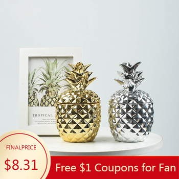 Ceramic Pineapple Storage Tank Plating Glass Jar Creative Candy Jar Aromatherapy Candle Storage Container Home Decoration Crafts 50pcs lot 6ml small glass bottle with sliver edge cap diy dry goods storage glass vial home decoration crafts candy glass jar