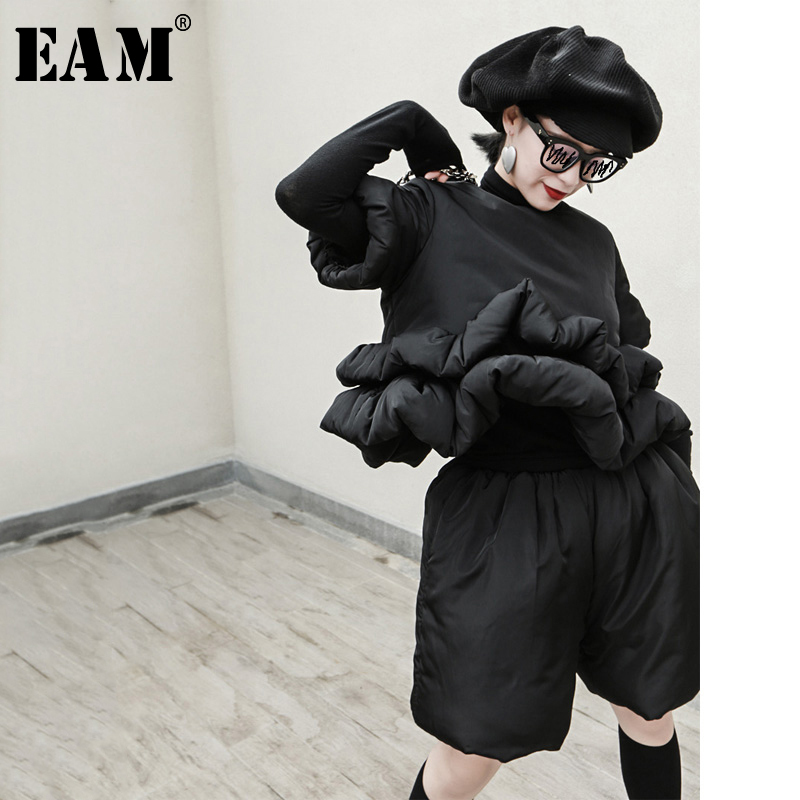 [EAM] Wide Leg Shorts  Two Piece Suit New Round Neck Short Sleeve Black Loose Fit Women Fashion Tide Spring Autumn 2020 1R346