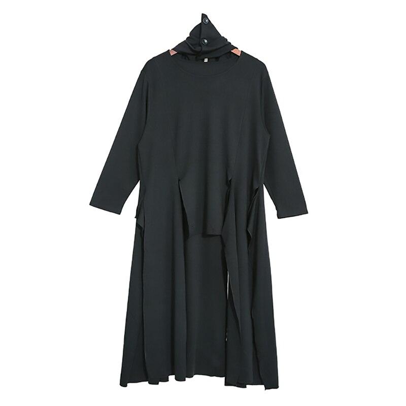New Fashion Style Black Asymmetrical Split Joint Long T-shirt Fashion Nova Clothing