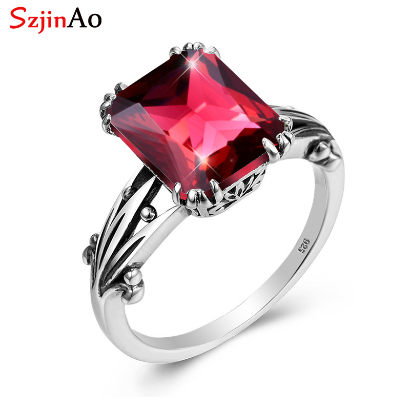 Szjinao Red Ruby Rings Sterling Silver Square Gemstone Ring Wedding Aniversary Party Vintage Women 2020 Brand Fashion Jewelry