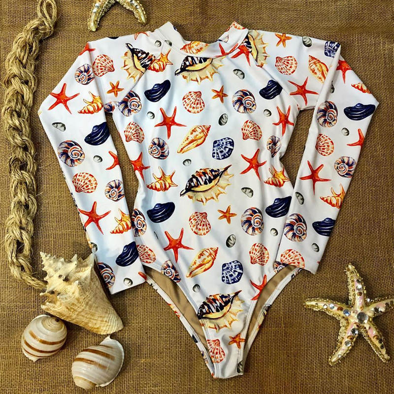Женский слитный купальник с длинными рукавами, Цветочный купальник, монокини с тропическим принтом, открытая спина, фламинго, купальный костюм, боди Bain - Цвет: BY19432W1