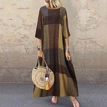 Mulheres boho vestido de algodão estampado linho graffiti manga longa vestido de contraste impresso vestido longo vestidos largos