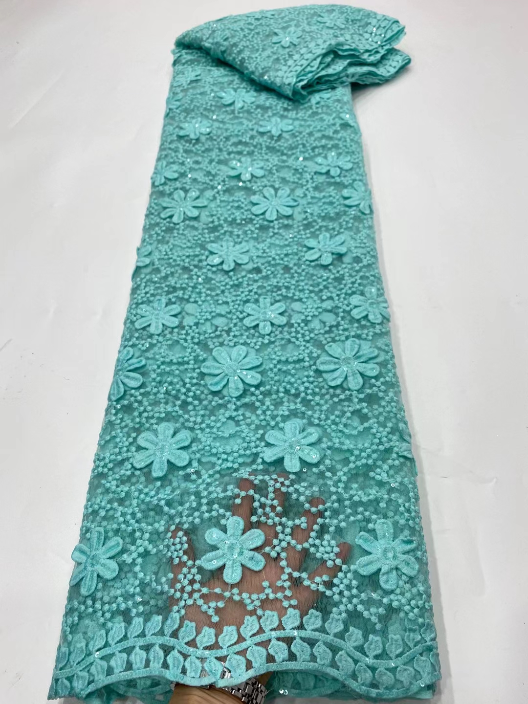 DPN15 Factory price French tulle lace fabric with sequins,pretty embroidered African net lace for party dress!