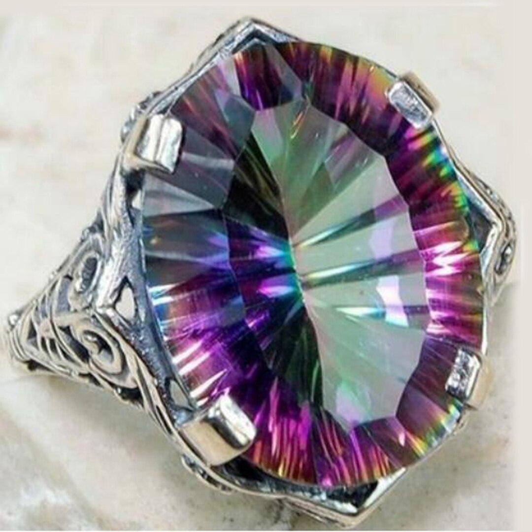 Купить новое поступление винтажные цветные кольца с большим цирконием
