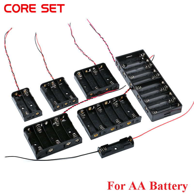 AA Size Power Battery Storage font b Case b font Box Holder Leads With 1 2