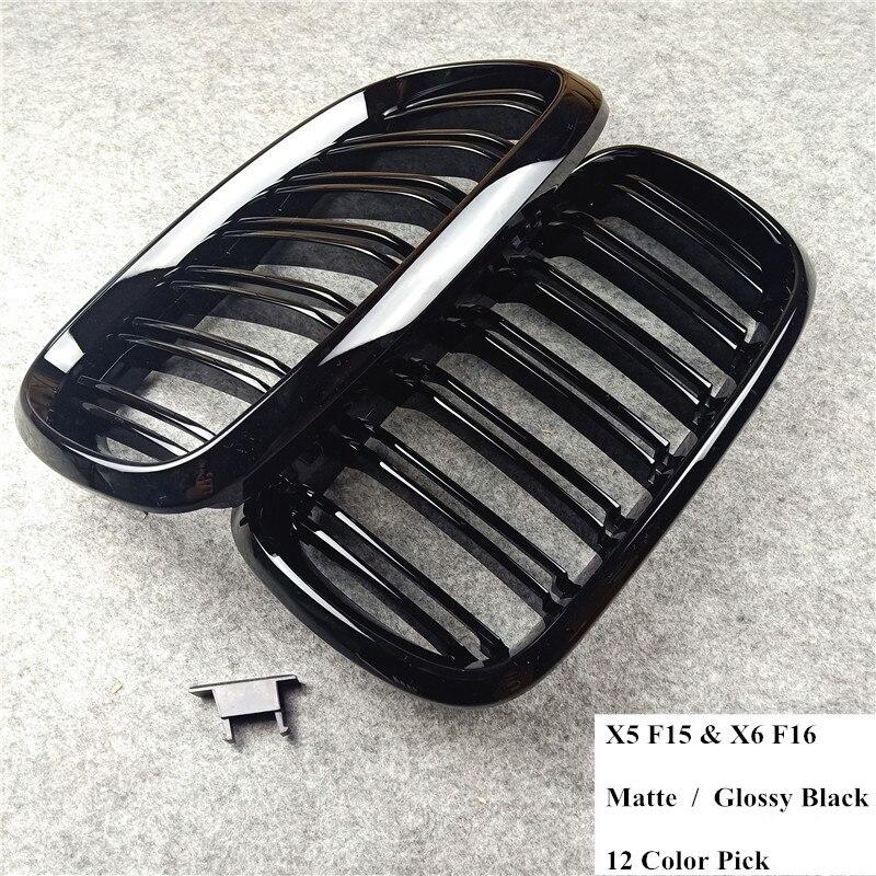 2014-2018 1 пара X5 F15 X6 F16 глянцевый матовый черный Abs материал автомобильный передний гриль для X5M F85 X6M F86 Xdrive Автомобильная карбоновая решетка