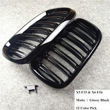 2014-2018 1 par x5 f15 x6 f16 brilhante fosco preto abs material grade dianteira do carro para x5m f85 x6m f86 xdrive veículo grade de carbono