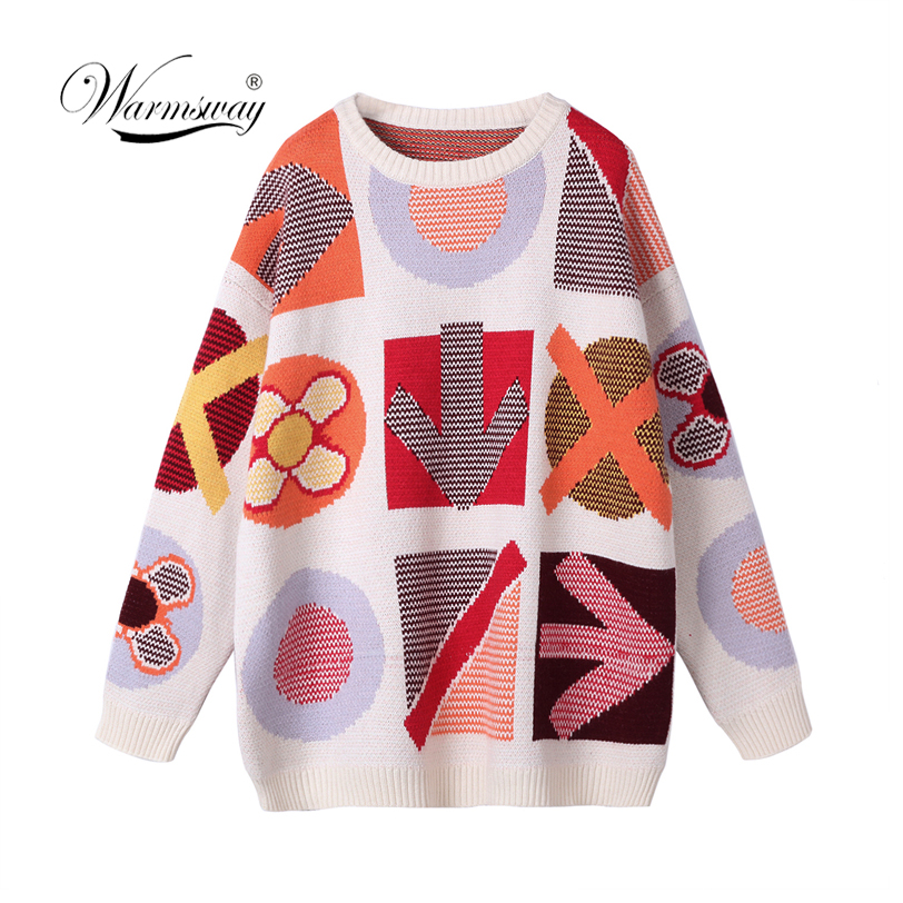 High Quality Street Fashion Lady's Jacquard Oversized Sweater 2020 New Novelty Long Sleeve Knit Pullover Women Jumper C-260