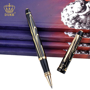 Image 2 - Black Gold Clip Rollerball Pen Duke Black Ink Medium Refill Good Writing Ballpoint Pen Luxury Business Gift Pens with A Pen Box
