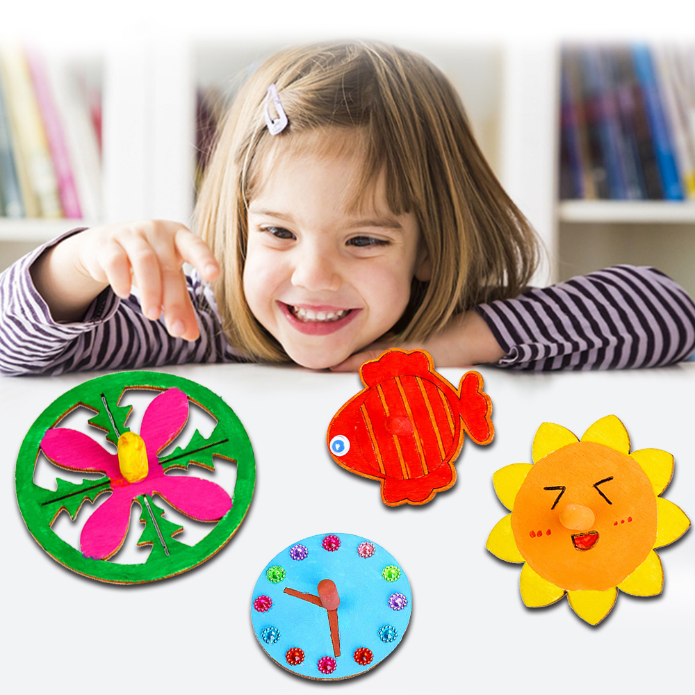 20pcs Children's Diy Painting Coloring Gyro Toys Wooden Spinning Tops DIY Wood Spin Tops For Party Favors Education Game Gifts D