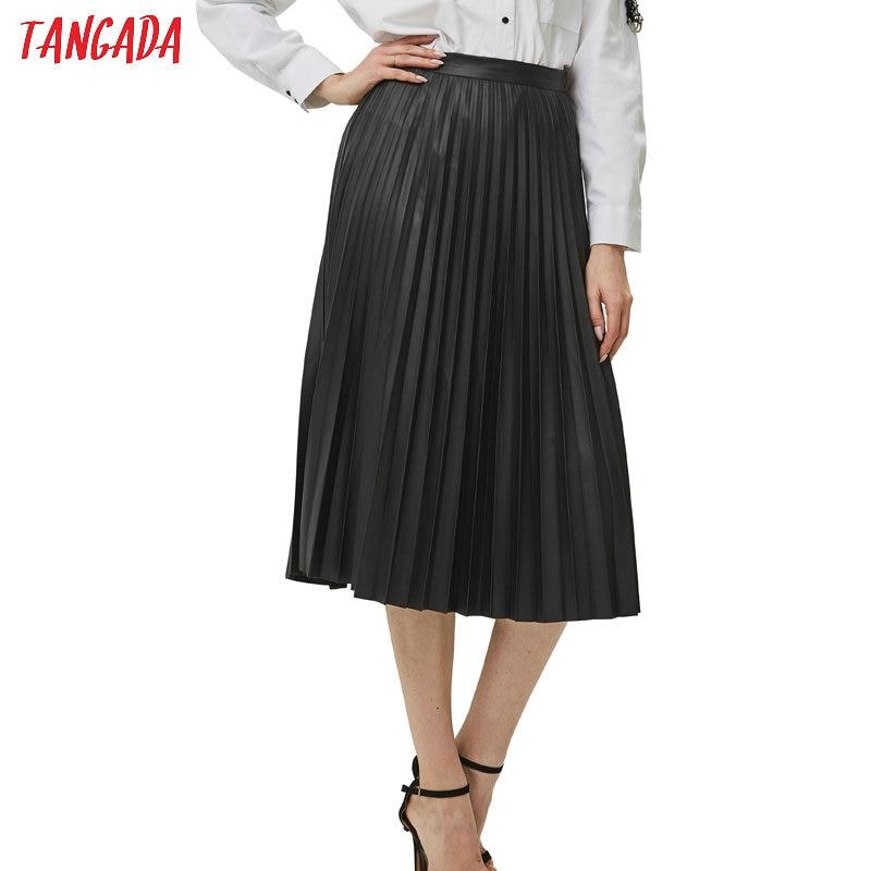 Tangada Women Black Basic Pleated Midi Skirt Faldas Mujer Vintage Side Zipper Fly Solid Female Casual Chic Mid Calf Skirts 6A68
