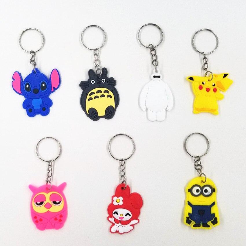 Cute Cartoon Pink Owl Blue Stitch Keychain Women Boy Girls Bag School Bag Pendant Accessories Car Keyring Gift KC325